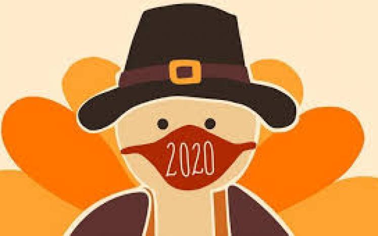 Thanksgiving Turkey wearing a mask