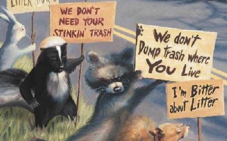 Cartoon of animals holding signs asking humans not to pollute